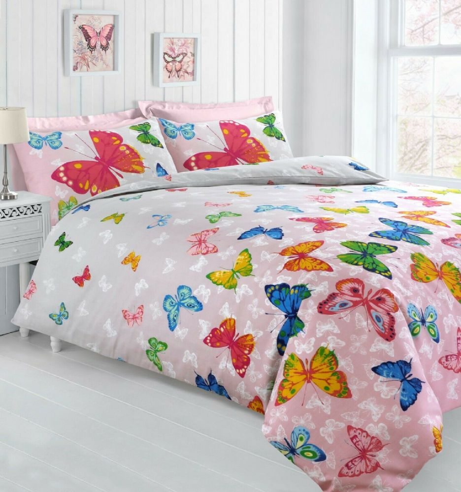 BUTTERFLY BEDDING PRINTED DUVET COVER & PILLOWCASE BLUSH PINK GREY MULTI 2 TONE